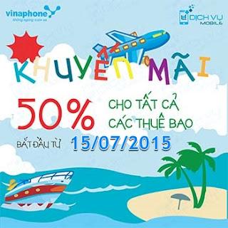 Vinaphone khuyến mãi 50% giá trị thẻ nạp vào 15/7/2015
