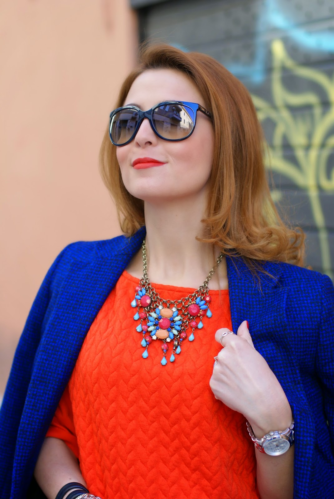 MA Lady Danger lipstick, side parted hair, ray-ban cat eye sunglasses, Miu Miu black tote, bijou brigitte necklace, Fashion and Cookies fashion blog, fashion blogger