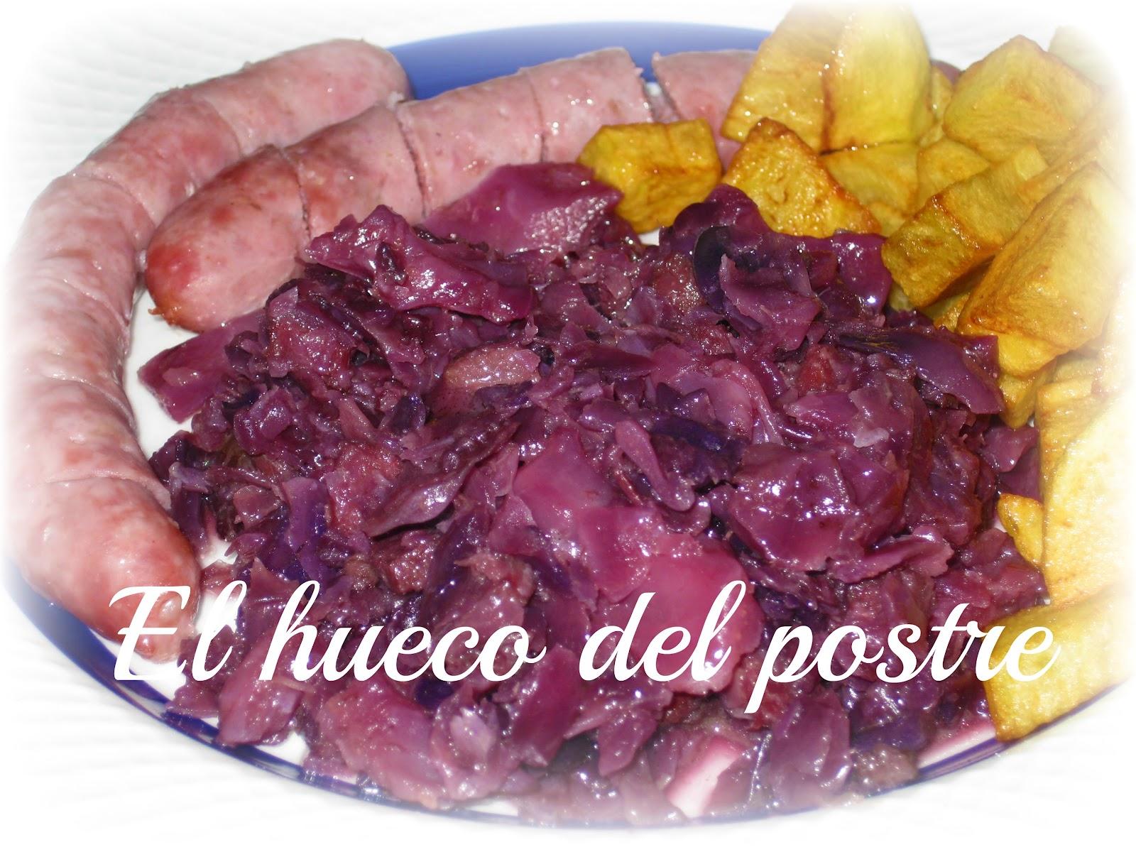 El hueco del postre lombarda rehogada con jam n y salchichas for Cocinar lombarda