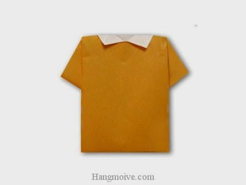 Cách gấp, xếp áo phông polo bằng giấy origami - Video hướng dẫn xếp hình quần áo - How to fold a Polo Shirt