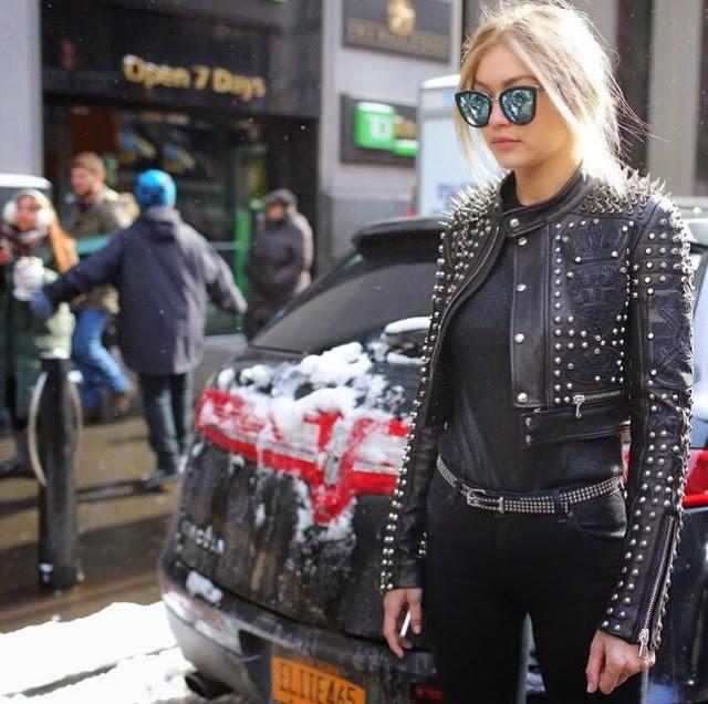 Gigi Hadid Street Style in Quay My Girl Sunglasses Diesel Jacket and Belt