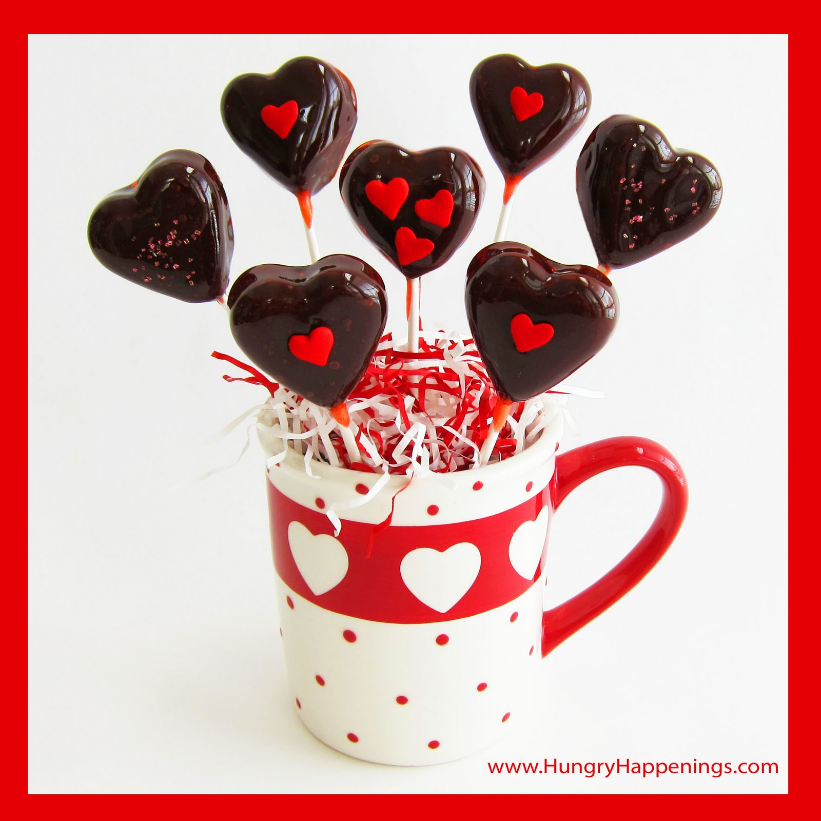 Cherry Heart Pops With Chewy Chocolate Centers