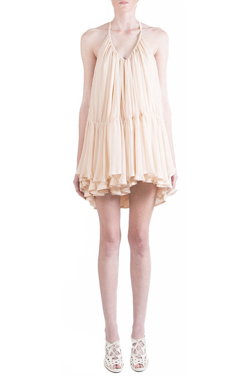 Alyssa Nicole Spring 2015, Silk Tent Dress, Nude Chiffon Dress, Silk Chiffon Dress, Luxury Womenswear Collection