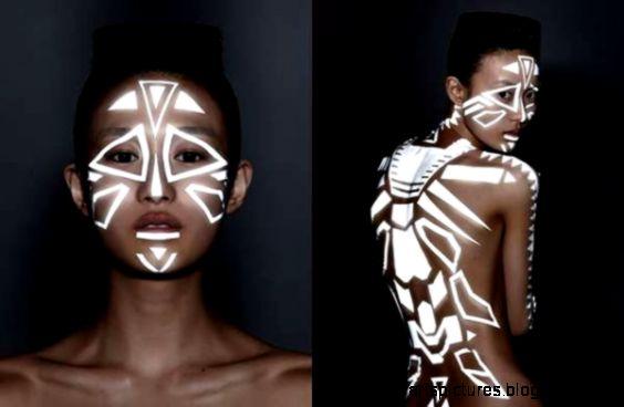 Reflective tribal body paint  INSPIRATION  Pinterest