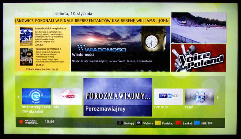 Ekran startowy platformy HbbTV kanału TVP1