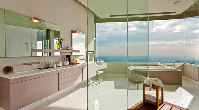 Photo of amazing modern bathroom interiors with the view of Los Angeles