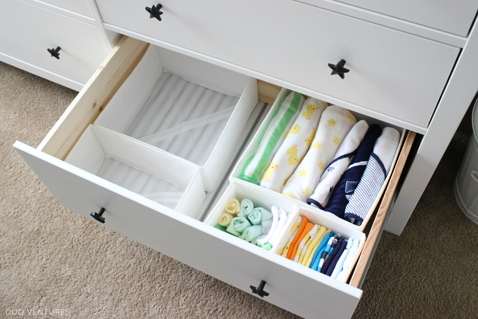 Another nice detail is the ticking stripe pattern on the drawer bottom    you can see it through the SKUBB organizers. Duo Ventures  The Nursery  Custom IKEA Hemnes Dresser