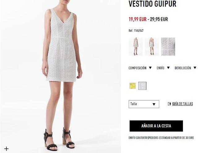 Vestido blanco encaje escote pico Zara primavera/verano 12