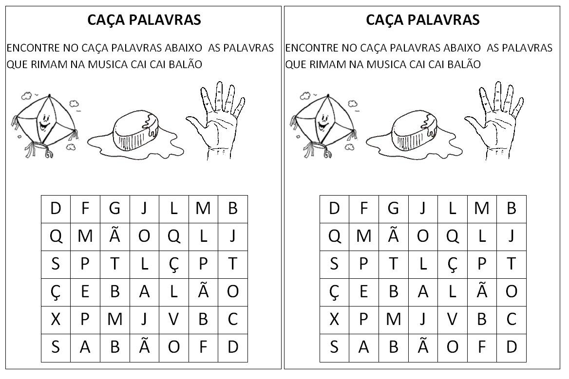 Suficiente Aprendendo Fácil: Cai cai Balão Musica e atividades ZM93