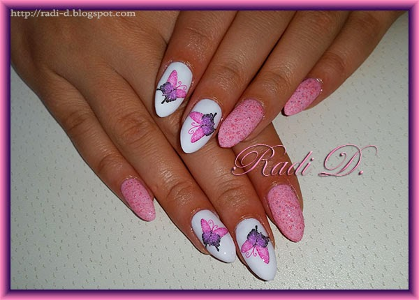 Almond Nails With Butterflies