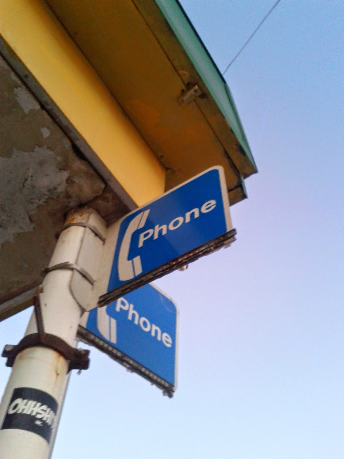 Stock photo: Payphone sign blue and white