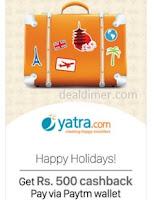 Get Rs.500 cashback @Yatra