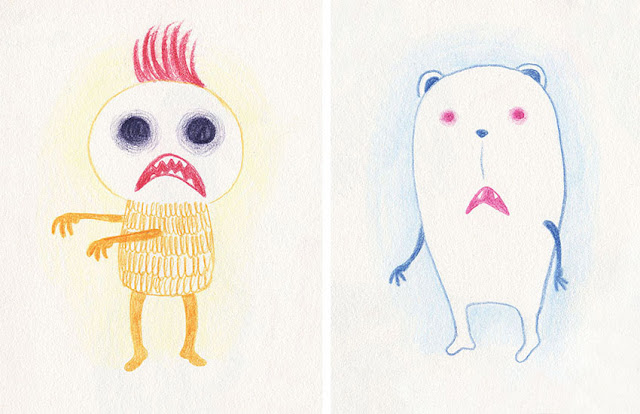 Mar Villar - Dibujos a tres colores, monstruo zombi, oso zombi