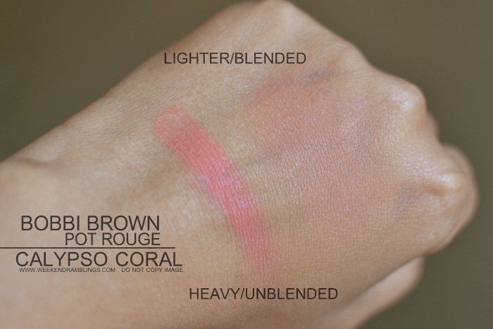Bobbi Brown Calypso Coral Pot Rouge Lips Cheeks Indian Darker Skin Swatches Makeup Beauty Blog Review Photos FOTD