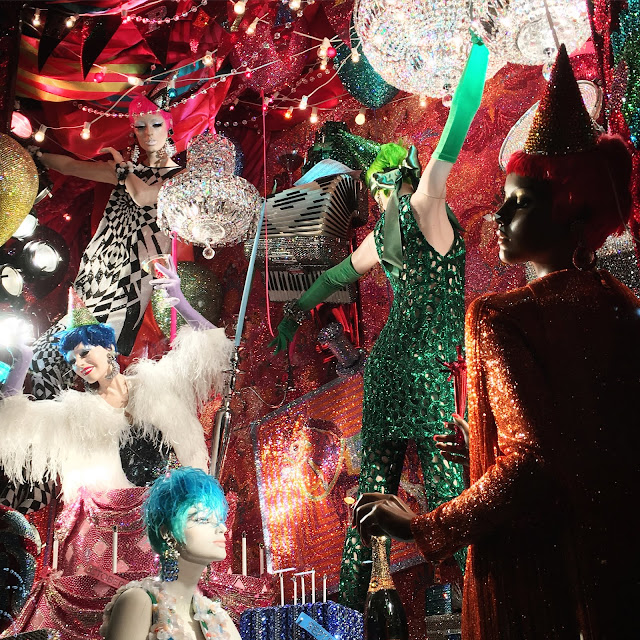 Detail shot of Bergdorf Goodman's Glitterati 2015 holiday window