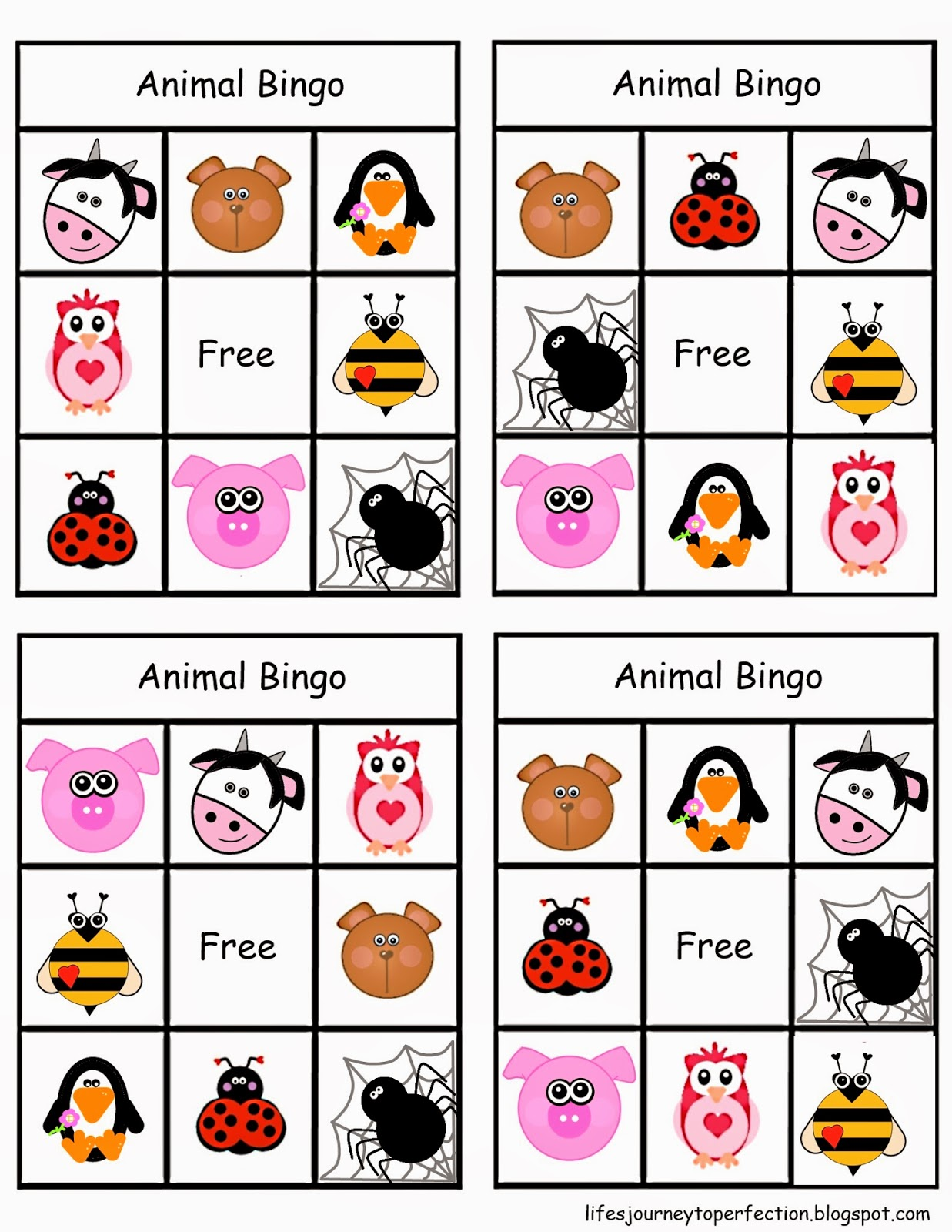Sizzling image in animal bingo printable