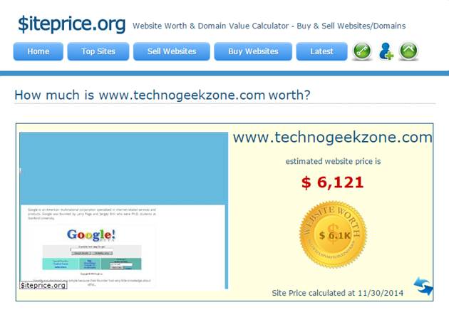 siteprice.org price of technogeekzone