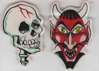 Puffy Halloween stickers featuring skull and red-faced devil with white horns