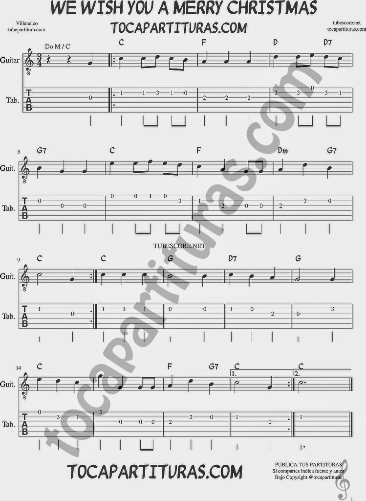 Tubescore We Wish You a Merry Christmas Tab Sheet Music for Guitar in C Major Christmas Carol with chords
