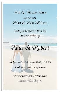 Simple Beach Wedding Invitation Wording