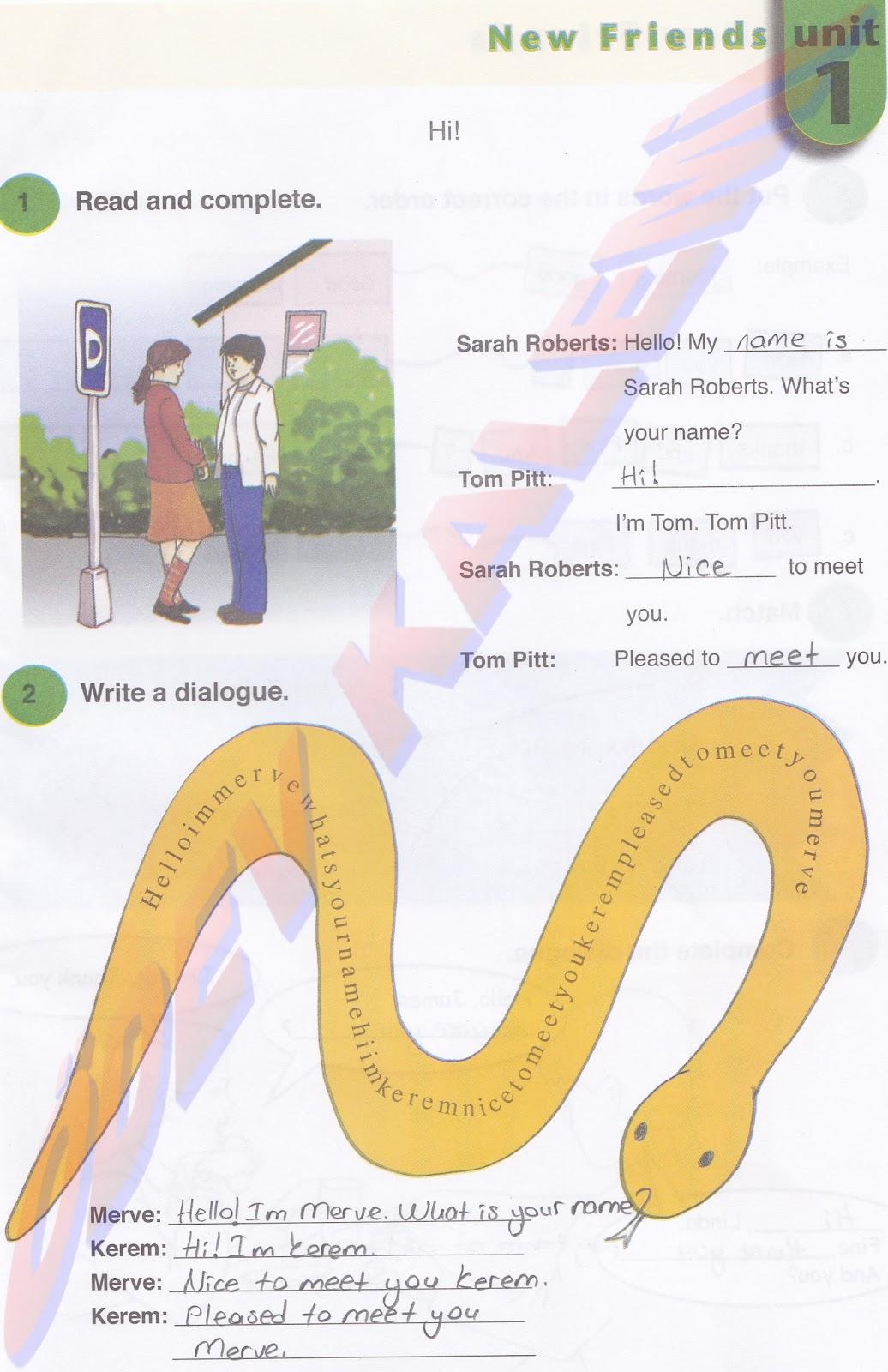 Sayfa cevap anahtarı kağıdı work book 1 new friends unit 1