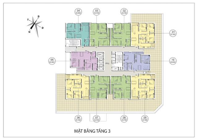 Mặt bằng căn hộ tầng 3 tòa B dự án Valencia Garden