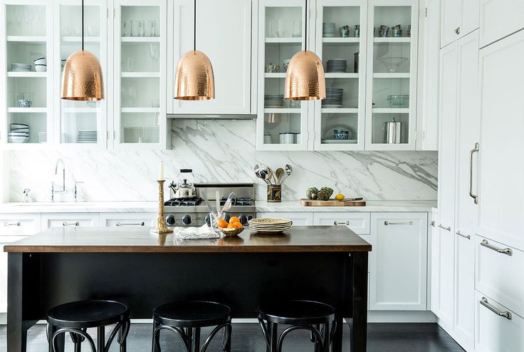 Marble counters white kitchen brass accents
