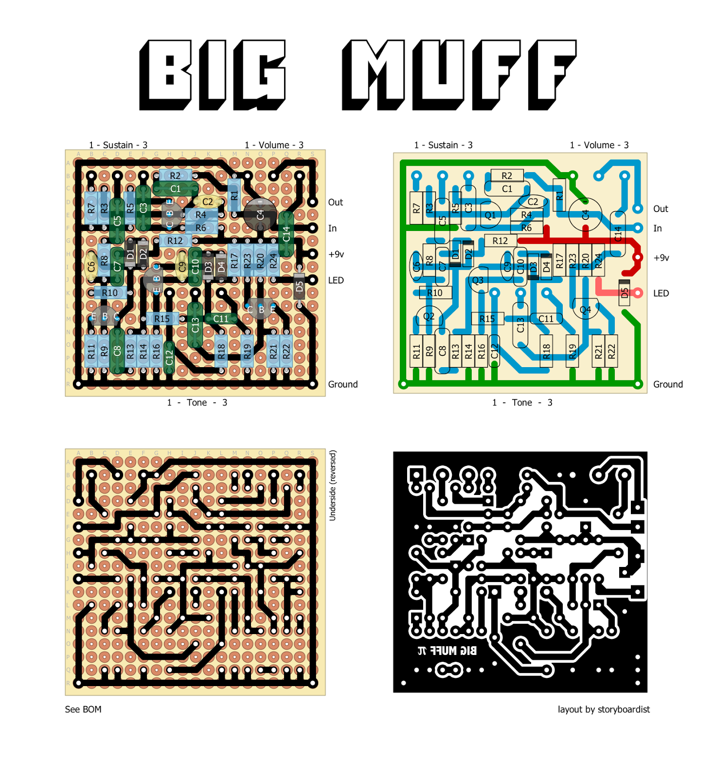Perf and PCB Effects Layouts: Electro-Harmonix Big Muff π