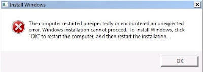 Windows setup experienced an Unexpected error. To Install windows, restart the installation