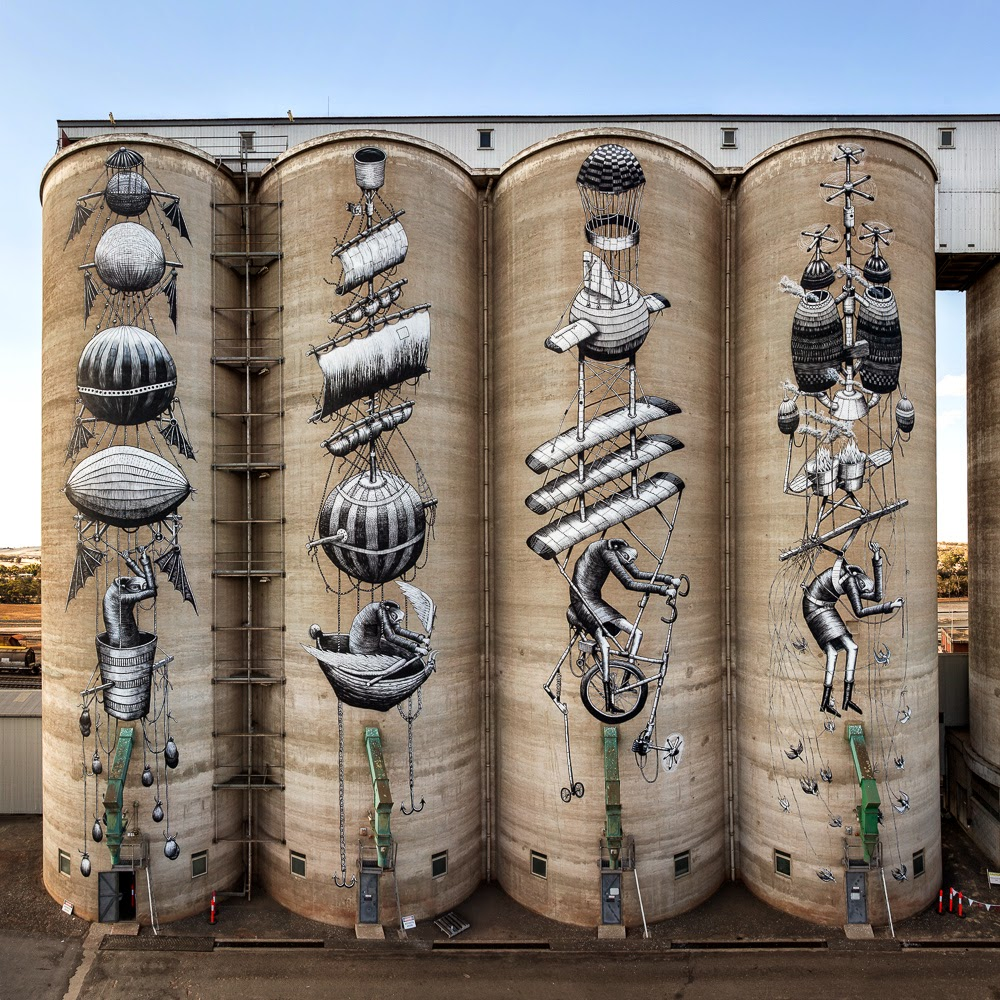 After two solid weeks of working ten hours a day, our friend Phlegm finally wrapped up his biggest piece to date for the excellent Form festival in Perth, Australia.