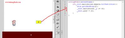Sekarang kembali lagi pada kotak yang dibuat barusan, klik kotak tersebut, dan masuk pada script pane, atau bagian Action Script, atur script seperti gambar dibawah ini.
