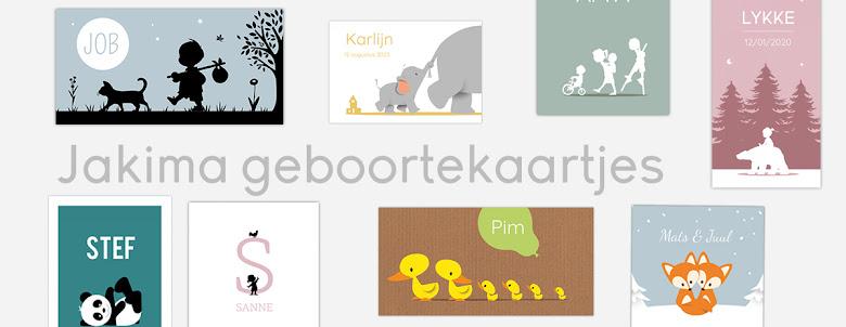Vrolijke en kleurrijke geboortekaartjes en wenskaarten, in verschillende formaten.