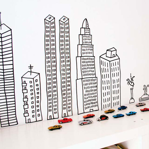 Vinilo,pared,Chispum,vinil,wall,ciudad,city,rascacielos,niños,kids,coches,building