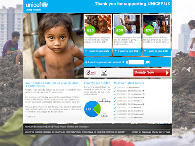 UNICEF UK donation page template example by Fifth Dimension