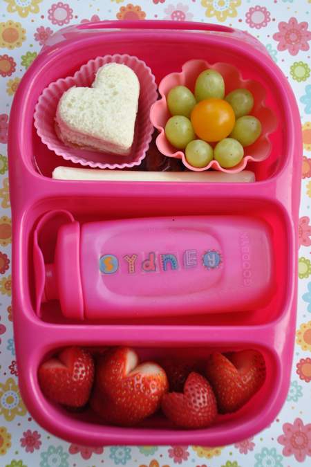 Goodbyn Bynto Bento School Lunch with Strawberry Hearts
