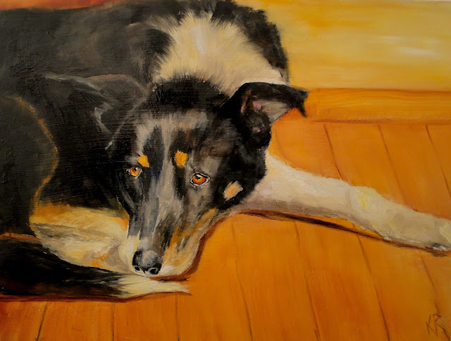 oil painting of a snoozing dog