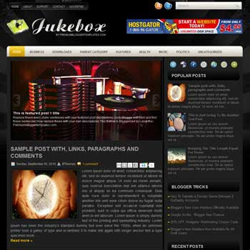 JukeBox blogger template. free blogspot template magazine style