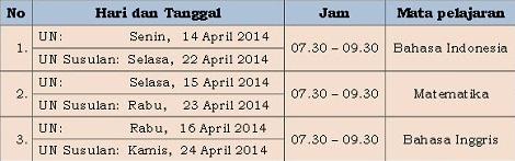 Jadwal Ujian Nasional UN Tingkat SMA MA 2014