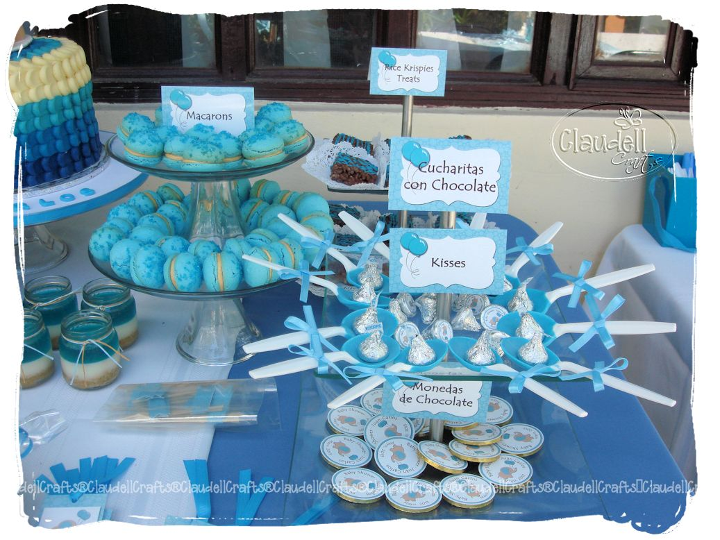 Claudell crafts fiesta tem tica baby shower elefantes for Mesa de dulces para baby shower nino