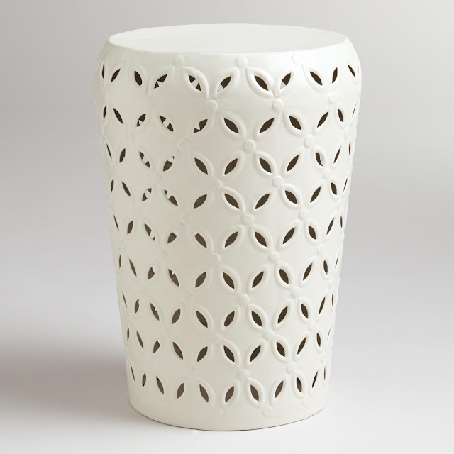 the eclectic owl white garden stool