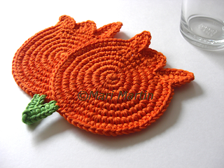 Crochet Coasters Orange Tulips