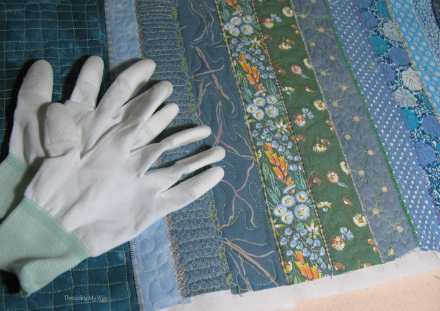Quilting Gloves... ever so handy for Free Motion Machine Embroidery ~ Threading My Way
