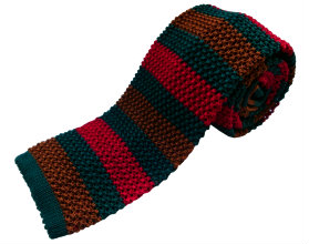 Nick Bronson Stripe Knitted Ties - Club 2/15 - Colour Red/Green/Brown