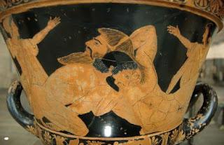 Antaeus and Hercules fighting.