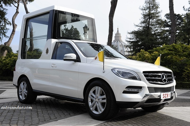 Pope Francis' Popemobile - a white Mercedes-Benz M-Class