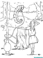 Alice melihat seekor ulat duduk diatas jamur raksasa
