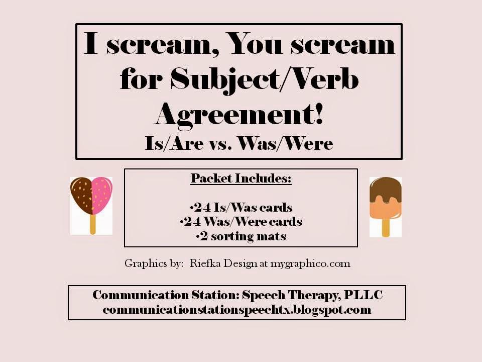 Speechie Freebies I Screamyou Scream For Subjectverb Agreement