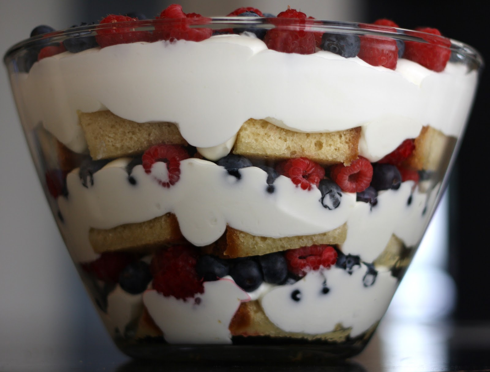 sunday sweets: red, white and blueberry trifle