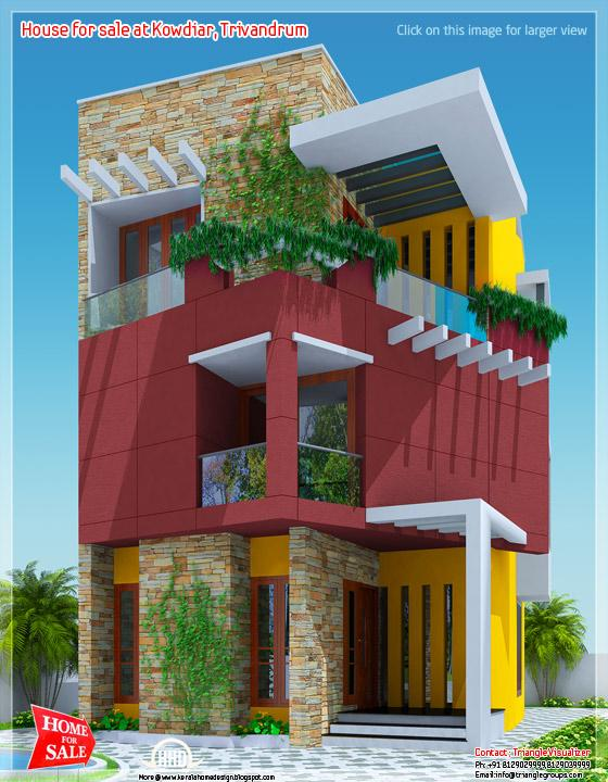 3 floor house for sale at Kowdiar, Trivandrum