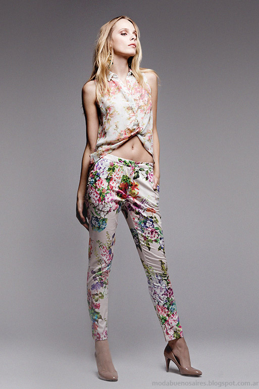 Basement primavera verano 2014. Falabella. Moda verano 2014 Pantalones estampados.